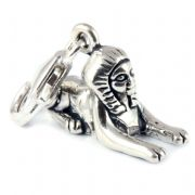 Egyptian Sphinx 3D Sterling Silver Clip On Charm - With Clasp